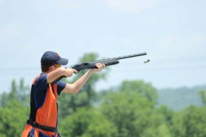 Clay pigeon shooting with shotgun at Courtlough.